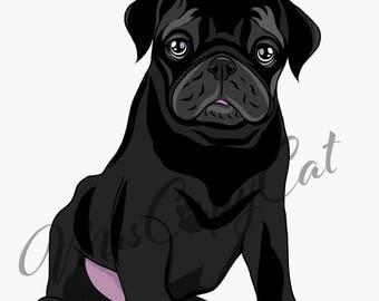 Black Pug Puppy Art Print - Dog Portrait - Hand Drawn Dog Art - Pug Cartoon Drawing - Dog Digital Illustration - Cute Pug Artwork
