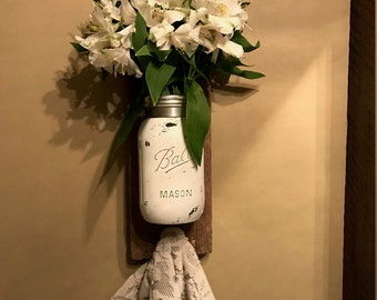 Distressed Mason Jar Vase & Towel hook