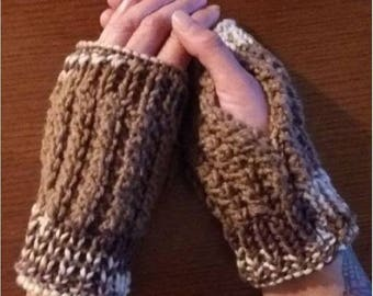 Brown and White Trim Knit Handmade Fingerless Mitts