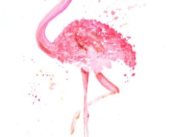 Art-print, print, art, illustration, décor, print, animal, cute, watercolour, style, wall art posters, home, flamingo, pink, summer, sea