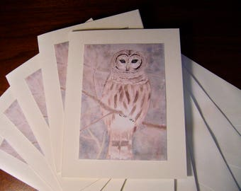 Winter Owl in watercolor -- sold in sets of 5 -- envelopes included