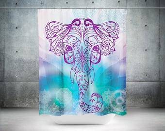 Elephant Shower Curtain,Boho Shower Curtain,Mandala Shower Curtain,Shower,Mandala Curtains Boho Curtain,Curtain Sacred Design,Bathroom Decor