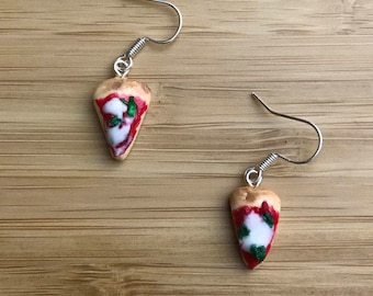 Mini pizza drop earrings woodfired margherita pizza