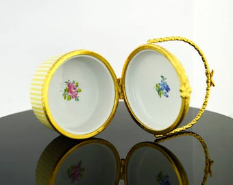 Vintage Porcelain Yellow Floral Trinket Jewelry Box