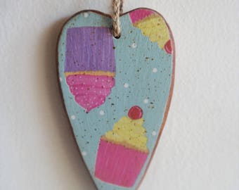 Cupcake Heart - Wooden Heart with Cupcakes, Baking, Bake, Bakers, I Heart Baking, Hanging, Decoration, Door Hanger, Wood, Varnished, Glitter