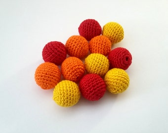 "Crochet beads 18 mm 5 PCS 5/8"", Wooden crochet cotton beads, Crocheted beads, Yellow Orange Red high quality beads Teething, Perles rondes"