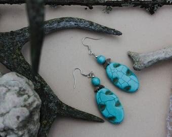 Turquoise earrings Dangle earrings Ombre earrings Gift for women Handcrafted earrings Bachelorette jewelry Turquoise jewelry Gemstone gift