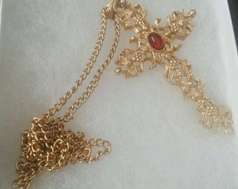 Vintage Gold and Ruby Red Stone Cross Pendant Necklace from the 1970s