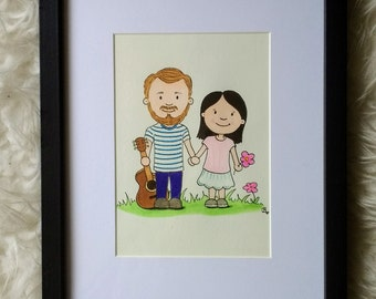 "Individually customized and hand-drawn illustration - ""couples"" - ""Best friends"" -"
