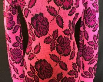 Betsey Johnson: Hot Pink & Purple Knit Dress Circa 1985