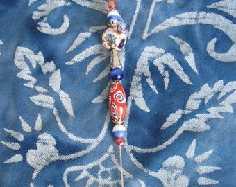 Vintage Style Hat Pin Americana Colors Vintage Beads