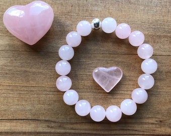 For the Love Rose Quartz with Sterling Silver bead