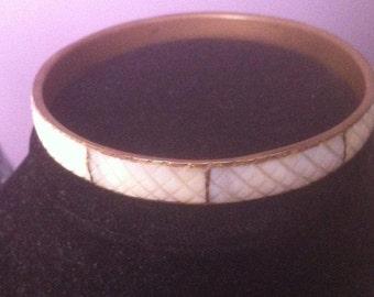 Vintage Hand Carved Mother of Pearl Bangle Bracelet