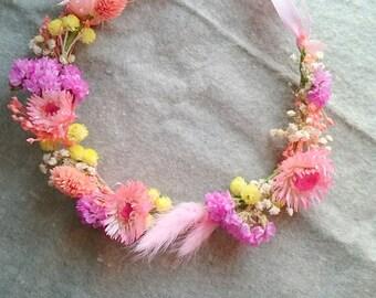 Sweet spring/ Blue ocean Dry flower crown