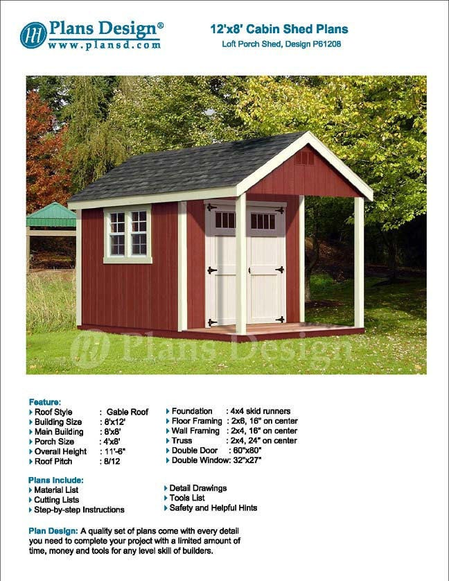 12 39 X 8 39 Cabin Loft Utility Shed With Porch