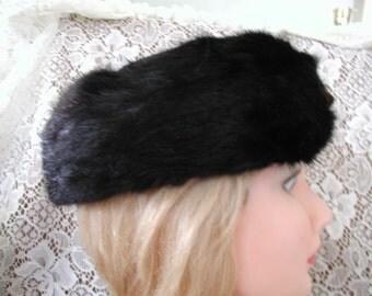 Mink Hat Black Pillbox with an Added Feature...Vintage Black Mink Pillbox Hat