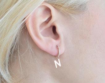 Dangle Initial Earring - Drop Letter Earring - Gold Initial Earring - Personalized Earring - Letter Earring - Earring - Valentine's Day Gift