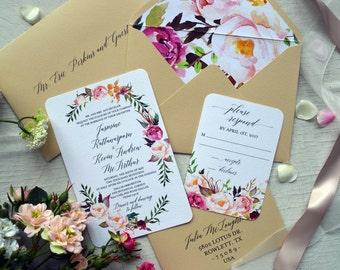 Botánico boda invitación Suite, conjunto de invitación de boda Boho imprimible, acuarela Floral invita, RSVP, plantilla de invitación para imprimir