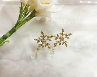 Blue Topaz Snowflake Earrings,24K Gold Plated Earrings,Silver Earrings,Gemstone Earrings,Teardrop Earrings,Party Earrings,Free Shipping