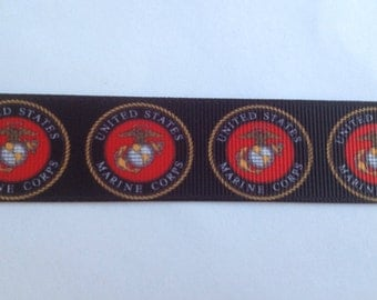 "1""  U.S. Marine Corps  inspired Grosgrain Ribbon  -  By The Yard"