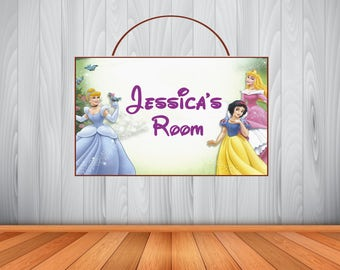 Personalized DISNEY PRINCESS Sign, Princess Personalized Wooden Name Sign, Disney Princess Room Decor, Princess Birthday Gift, Wall Art