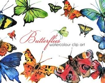 Watercolour Butterflies Clip Art