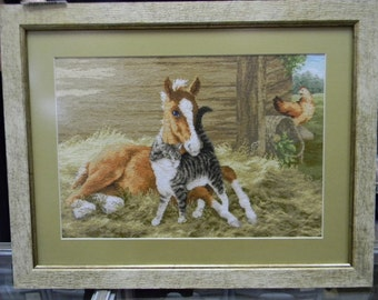 cross stitch, embroidered picture