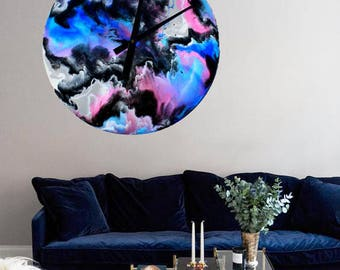 GALACTICA 50cm resin blue, pink and black wall clock