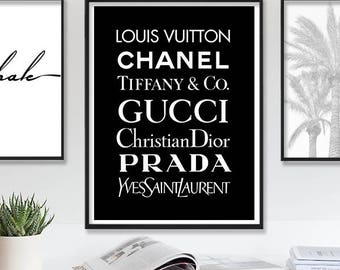Louis Vuitton Print Chanel Poster Fashion Wall Art Tiffany Prada Art Gucci YSL Printable Wall Art Fashion Wall Decor Large Black Wall Art