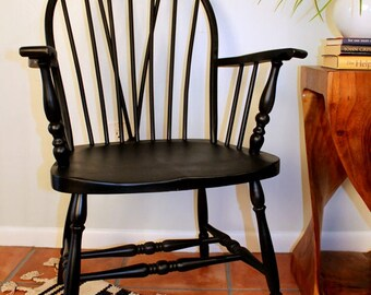Vintage Chair, Windsor Chair, Accent Chair, Black Chair, 19th Century Furniture