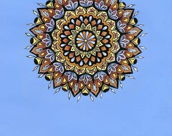 Cerulean Mandala Print