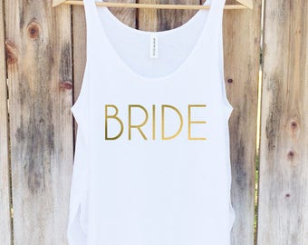Bride Tank, Bride Shirt, Wedding Tank Top, Bridal Party Top - Side Slit Tank Top