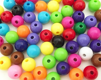 10mm Rainbow Round Beads - Assorted Colors Small Beads Resin Jewelry Making Craft Supplies