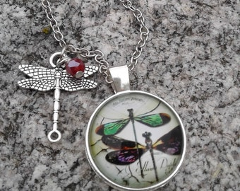Double Dragonfly Necklace with Charms