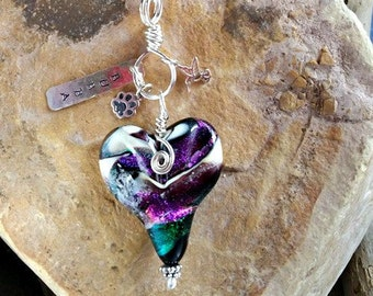 Charmed Heart Memorial Pendant in Sterling Silver,Ashes in Glass, Cremation Jewelry, Pet Urn