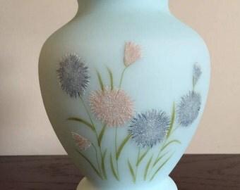 Vintage Fenton Aqua Blue Floral Embossed Ruffled Top Signed Vase