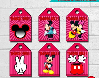 Printable Minnie Thank You Tags,  Disney Birthday Party Thank You Tags,  Minnie Birthday Party, instant download