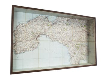 Land's End & Lizard map box frame - framed map wall decor wall art gift shelf keys holder