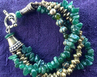 Brass and Jade Multi Strand Bracelet