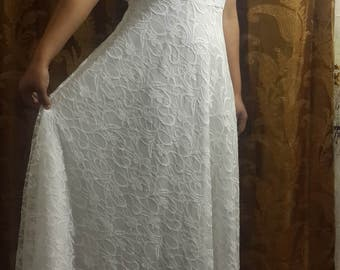 UK Stylish Women's Sleevless A-Line vintage Lace Evening Party Formal summer White cocktail Dress
