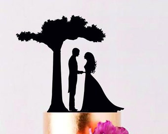 Tree Wedding Cake Topper with Couple Cake Topper Custom Wedding Topper Bride and Groom cake topper Personalized cake topper