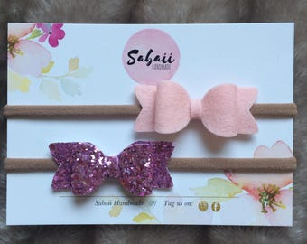 Sparkly pink felt bows, bows for ballet, handmade hair accessories, gifts for girls, 100% wool felt bows, baby headbands, hair clips
