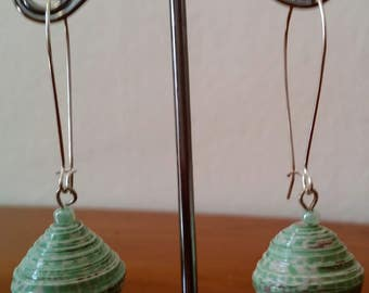Green tapered, paper bead and wooden bead earrings