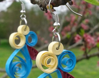 Fancy earrings unique rolled paper quilled paper quilling strips of paper paperoll strips of rolled paper jewelry