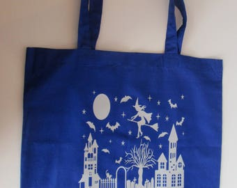 Witch on a Broom, Royal Blue Tote Bag, 100% Cotton
