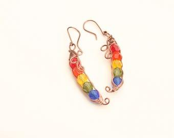 Antique Copper Wire Wrapped Earrings, Rainbow Pea Pod Earrings, Glass Bead Earrings