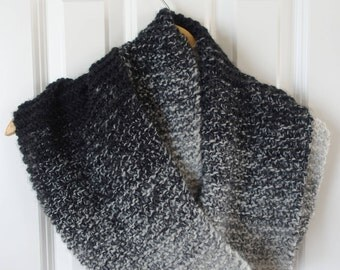 black & white, hand-knit, infinity scarf (ombre, gradient, gray)