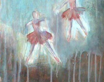 "Painting ""Dancing ballerinas"",  original, acrylic and pastel on paper, 43X61 cm"