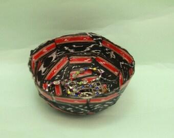 Handcrafted Fabric Decoupage Ikkat Paper Mache Bowl, handmade ikat design paper, ikat, ikat paper, paper mache bowl, paper mache dish,