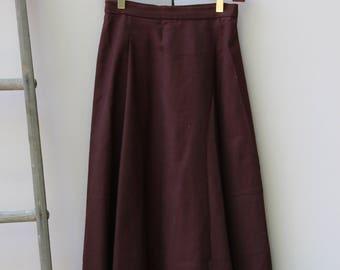 Vintage Maroon Midi A-Line Skirt